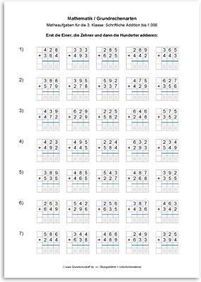 Download => Grundrechenarten => Schriftlich addieren bis 1000 (9)
