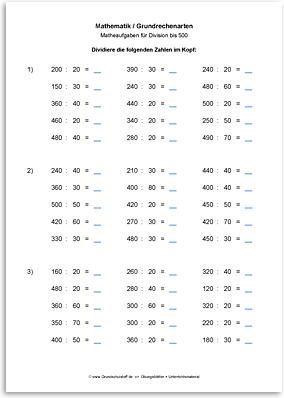 arbeitsblatt mathematik grundrechenarten division dividieren bis 1000 nr. Black Bedroom Furniture Sets. Home Design Ideas