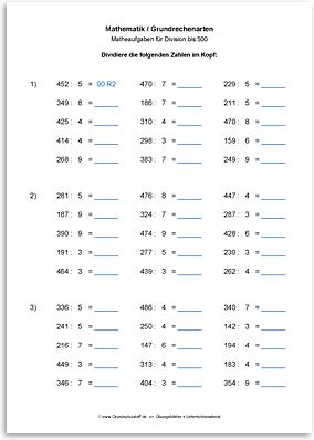 Download => Grundrechenarten => Division bis 1000 (7)