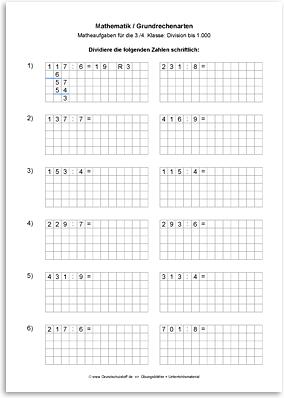 Arbeitsblatt: Mathematik-Grundrechenarten-Division-schriftlich ...