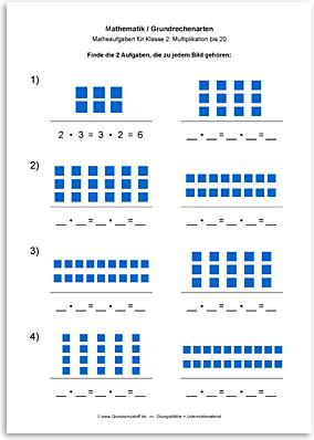 Download => Grundrechenarten => Multiplikation: Aufgabe finden bis 10 (2)