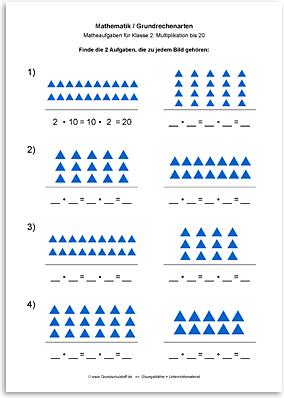 Download => Grundrechenarten => Multiplikation: Aufgabe finden bis 10 (3)