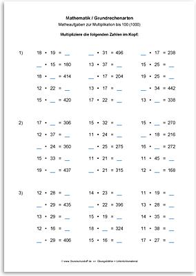Download => Grundrechenarten => Multiplikation bis 100 (1000) (8)