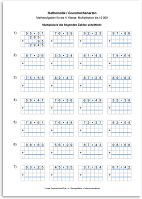 Arbeitsblatt: Mathematik-Grundrechenarten-Multiplikation-schriftlich ...