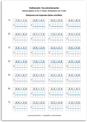 arbeitsblatt mathematikgrundrechenartenmultiplikation