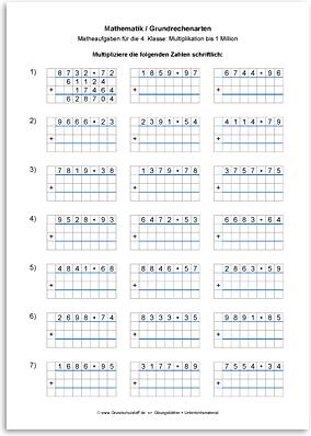 Download => Grundrechenarten => Schriftliche Multiplikation bis 1 Million (5)