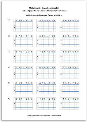 Download => Grundrechenarten => Schriftliche Multiplikation bis 1 Million (8)