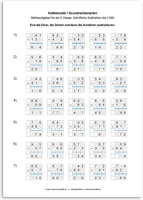 Download => Grundrechenarten => Schriftlich subtrahieren bis 1000 (10)