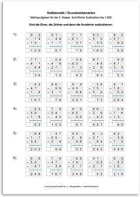 Download => Grundrechenarten => Schriftlich subtrahieren bis 1000 (12)