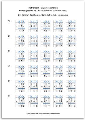 Download => Grundrechenarten => Schriftlich subtrahieren bis 1000 (2)