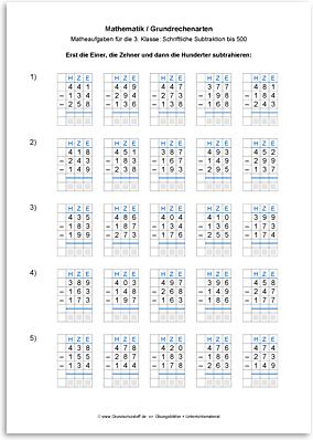 Download => Grundrechenarten => Schriftlich subtrahieren bis 1000 (5)