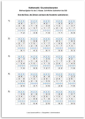 Download => Grundrechenarten => Schriftlich subtrahieren bis 1000 (6)