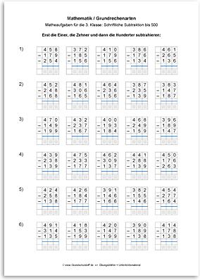 Download => Grundrechenarten => Schriftlich subtrahieren bis 1000 (7)