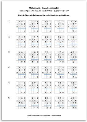 Download => Grundrechenarten => Schriftlich subtrahieren bis 1000 (8)