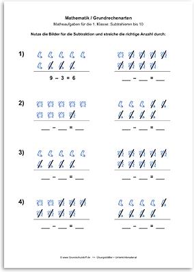 Download => Grundrechenarten => Subtraktion: Subtrahieren bis 10 mit Bildern (4)