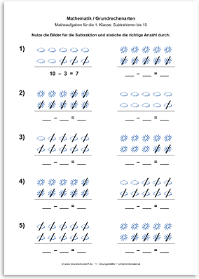 Download => Grundrechenarten => Subtraktion: Subtrahieren bis 10 mit Bildern (6)