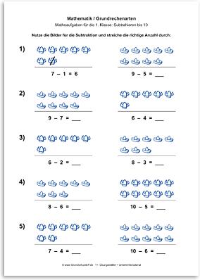 Download => Grundrechenarten => Subtraktion: Subtrahieren bis 10 mit Bildern (7)