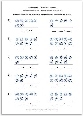 Download => Grundrechenarten => Subtraktion: Subtrahieren bis 10 mit Bildern (8)