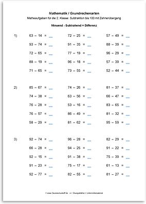 Download => Grundrechenarten => Subtraktion bis 100 mit Zehnerübergang (13)