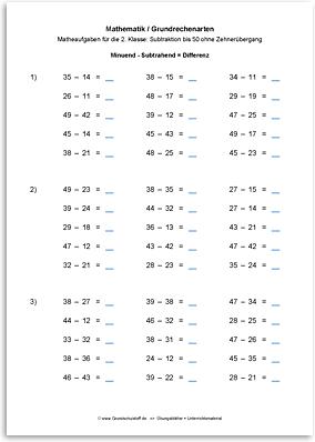 Download => Grundrechenarten => Subtrahieren bis 100 ohne Zehnerübergang (13)