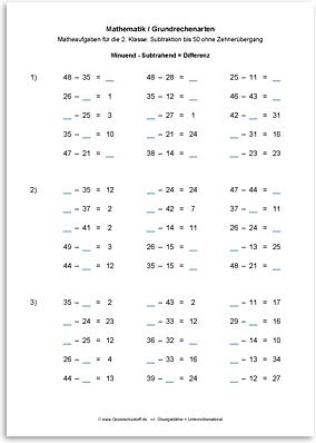 Download => Grundrechenarten => Subtrahieren bis 100 ohne Zehnerübergang (14)
