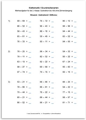 Download => Grundrechenarten => Subtrahieren bis 100 ohne Zehnerübergang (17)