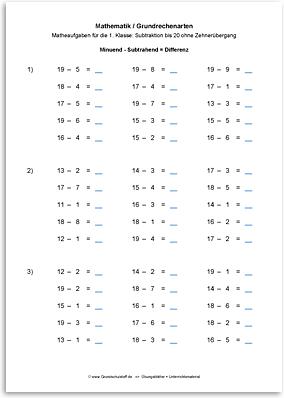 Download => Grundrechenarten => Subtrahieren bis 100 ohne Zehnerübergang (3)