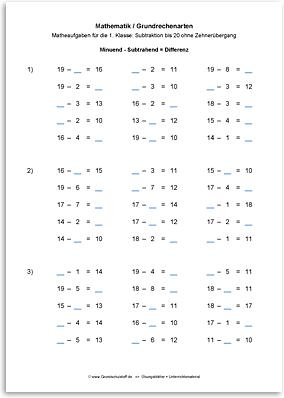 Download => Grundrechenarten => Subtrahieren bis 100 ohne Zehnerübergang (4)