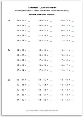 Download => Grundrechenarten => Subtrahieren bis 100 ohne Zehnerübergang (5)