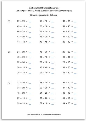 Download => Grundrechenarten => Subtrahieren bis 100 ohne Zehnerübergang (9)