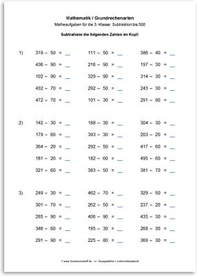 Arbeitsblatt: Mathematik-Grundrechenarten-Subtraktion-subtrahieren ...