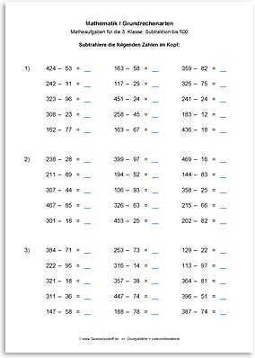 Download => Grundrechenarten => Subtraktion bis 1000 im Kopf (5)