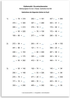 Download => Grundrechenarten => Subtraktion bis 1000 im Kopf (6)