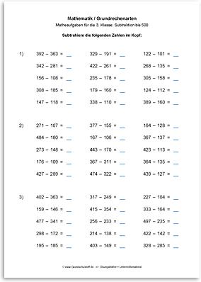 arbeitsblatt mathematik grundrechenarten subtraktion subtrahieren bis 1000 nr. Black Bedroom Furniture Sets. Home Design Ideas