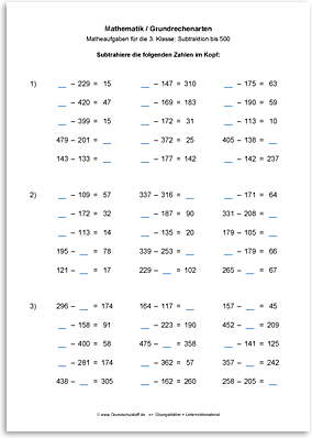 Download => Grundrechenarten => Subtraktion bis 1000 im Kopf (8)