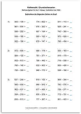 Download => Grundrechenarten => Subtraktion bis 1000 im Kopf (9)