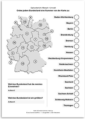 arbeitsblatt sachunterricht mensch umwelt bundeslaender deutschland nr. Black Bedroom Furniture Sets. Home Design Ideas